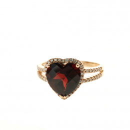 Citigems 14K Rose Gold Garnet Benetto Ring