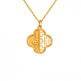Citigems 999 Pure Gold Oriental Bloom Clover Pendant