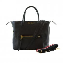 Miu Miu Trapeze Large Black Madras Leather Tote Bag