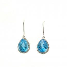 Citigems 10K White Gold Blue Topaz Benetto Earrings