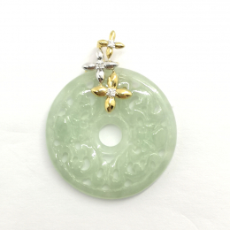 Citigems 18K Yellow Gold Jadeite A Diamond Pendant
