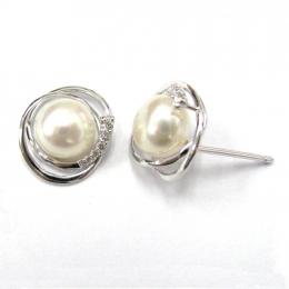 Citigems White Gold Pearl Diamond Earrings