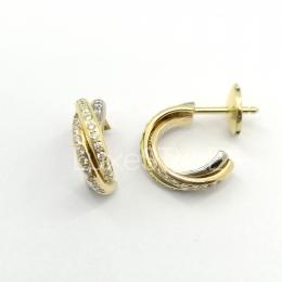 Pre-Loved Cartier Trinity 18K Three Tone Gold Diamond Earrings
