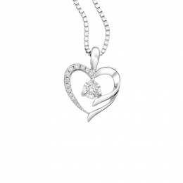 Citigems 10K White Gold Heart Starlite Diamond Pendant