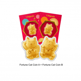 Citigems 999 Pure Gold 0.2g Fortune Cat Golden Treasure
