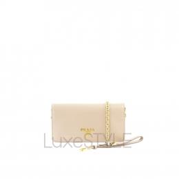Prada Saffiano Leather Beige / Nude Wallet On Chain