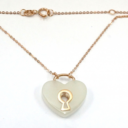 Citigems 18K Rose Gold Heart Nephrite Necklace