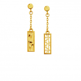 Citigems 999 Pure Gold Oriental Bloom Bamboo Earrings