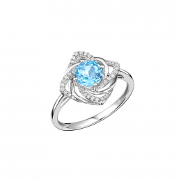 Citigems White Gold Topaz Diamond Ring