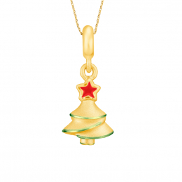 Citigems 999 Pure Gold Light Up Christmas Tree Pendant