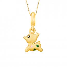 Citigems 999 Pure Gold Christmas Reindeer Pendant