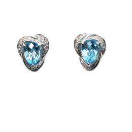 Citigems White Gold Topaz Diamond Earrings