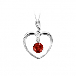 Citigems 10K White Gold Heart Garnet Benetto Pendant