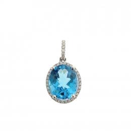 Citigems White Gold Blue Topaz Diamond Pendant