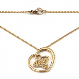 Pre-Loved Louis Vuitton Floral Heart 18K Rose Gold Necklace
