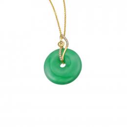 Citigems 18K Danity Round Jadeite Diamond Pendant