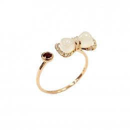 Citigems 18K Rose Gold Nephrite Diamond Ring