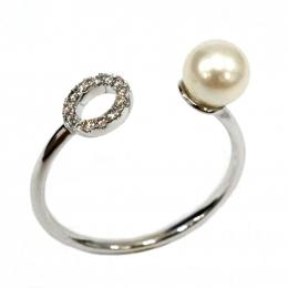 Citigems White Gold Pearl Diamond Ring