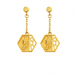 Citigems 999 Pure Gold Oriental Bloom Hexagon Earrings