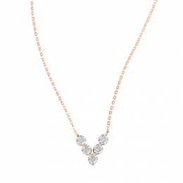 Citigems 18K Rose Gold V Shape Diamond Necklace