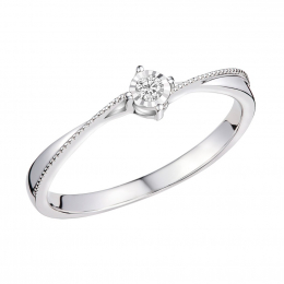 Citigems 10K White Gold Elegant Twist Elistar Diamond Ring