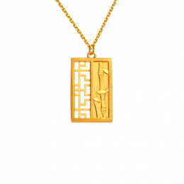 Citigems 999 Pure Gold Oriental Bloom Bamboo Pendant