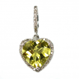 Citigems White Gold Quartz Diamond Pendant