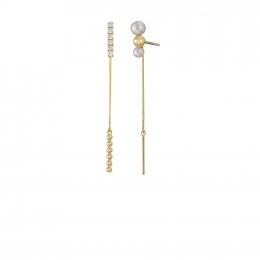 Citigems Yellow Gold Pearl Diamond Earrings