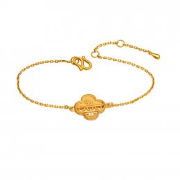 Citigems 999 Pure Gold Oriental Bloom Clover Bracelet