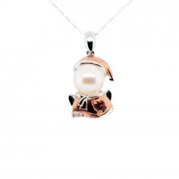 Citigems Rose Gold Pearl Santa Pendant