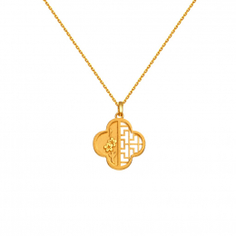 Citigems 999 Pure Gold Oriental Bloom Clover Pendant