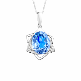 Citigems 14k White Gold Blue Topaz  Benetto Diamond Pendant