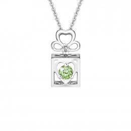 Citigems 10K Spinning L.O.V.E. Green Garnet Diamond Pendant