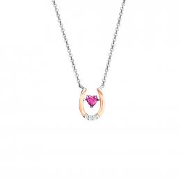 Citigems Rose Gold Rhodolite Diamond Necklace