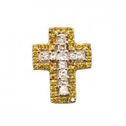 Citigems 18K Yellow Gold Classic Cross Diamond Pendant