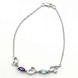 Citigems White Gold Multi-Gems Diamond Bracelet