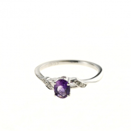 Citigems 10K White Gold Amethyst Benetto Ring 73488