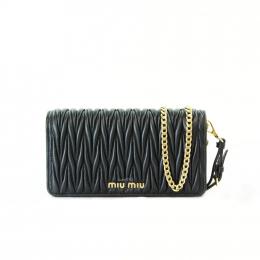 Miu Miu Matelasse Leather Black Wallet on Chain